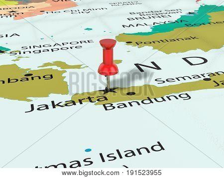 Pushpin On Jakarta Map 3D Illustration