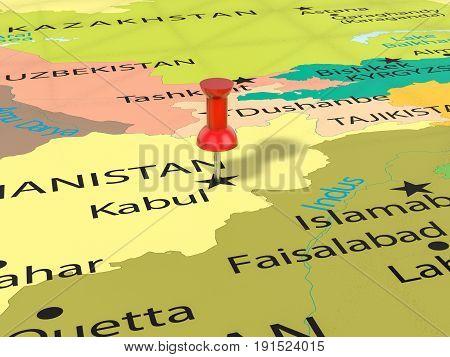 Pushpin On Kabul Map 3D Illustration