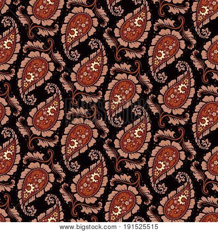 Seamless pattern based on traditional Asian elements Paisley. Boho vintage style vector background. Best motive for print on fabric or papper.