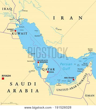 Persian Gulf region countries political map. Capitals, borders, cities and rivers. Iran, Iraq, Kuwait, Qatar, Bahrain, United Arab Emirates, Saudi Arabia, Oman. Illustration. English labeling. Vector.