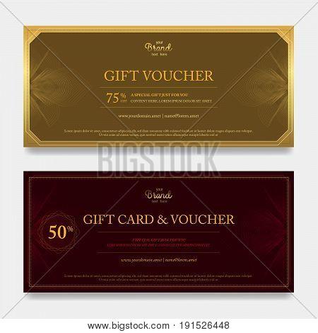 Elegant gift voucher or gift card on abstract flower swirl background