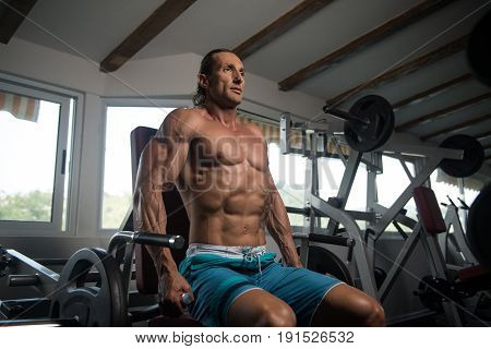 Man Exercising Trapezius In The Gym