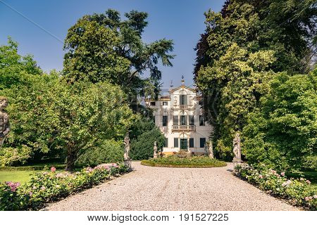 Padua Italy - June 4 2017: Typical eighteenth-century Venetian villa surrounded by an Italian garden.