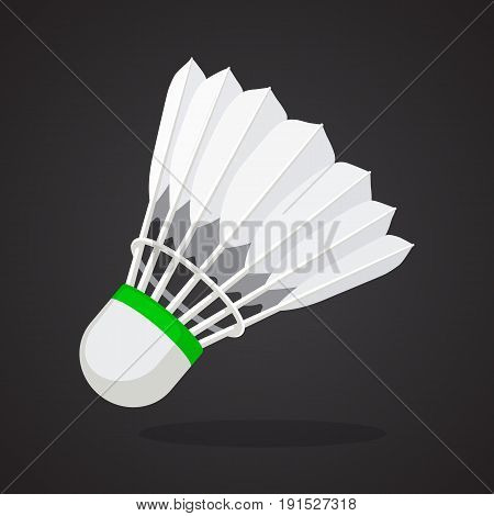 Vector illustration in flat style. Shuttlecock for badminton from bird feathers. Sports equipment. Decoration for greeting cards, prints for clothes, posters, wallpapers