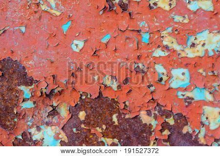 Flaking paint on on old metal surface. Old metal texture for background