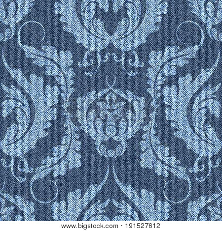 Denim background with Victorian pattern. Blue seamless jeans with light print. Vector illustration.