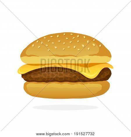 Vector illustration in cartoon style. Cheeseburger with meat and cheese. Unhealthy food. Decoration for patches, prints for clothes, badges, posters, emblems, menus
