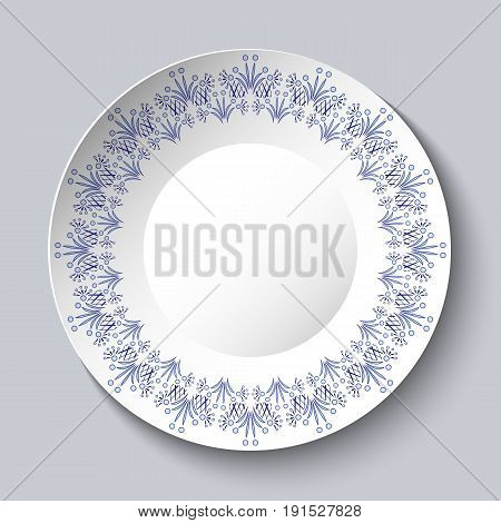 Vintage porcelain plate on clear background. Stylization Chinese painting on porcelain or Russian style Gzhel. Vector illustration