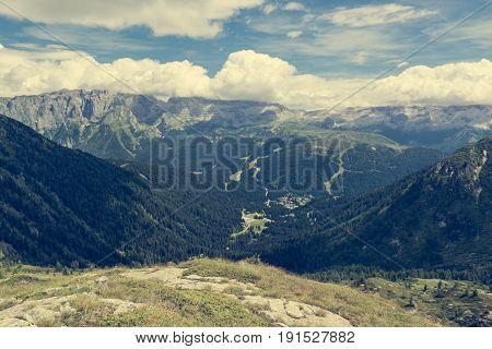 Mountain view above Madonna di Campiglio. Italian Dolomites.