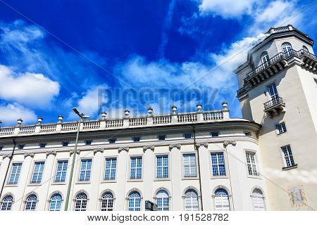 Fridericianum (built in 1769-1779) in Kassel - White smoke from the tower at the museum - documenta 14 opened-Hesse, Germany