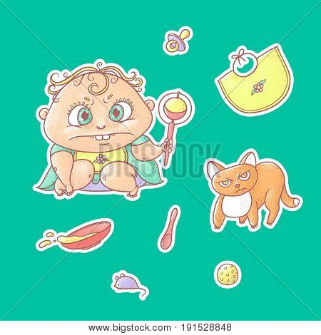 Vector set of color illustrations stickers angry child and terrible kitten. Baby food toys and hygiene items. The chubby curly frown kid and red cat.