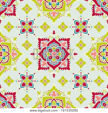 Boho style flower seamless pattern. Tiled floral design, best for print fabric or papper and more.