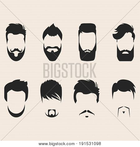 Set of vector mustache, beards and hair hipster. Retro curly collection. Barber silhouette