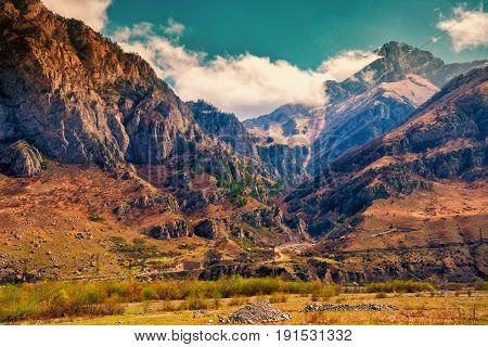 Beautiful Landscape Of Spring Ravine Mountains, Russia, Republic Ingushetia, Instagram Filter
