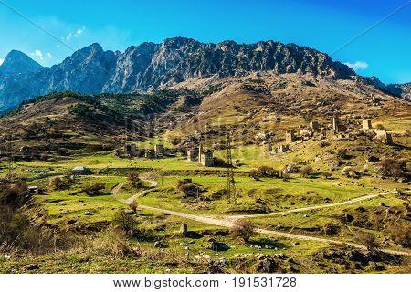 Beautiful Countryside Of Egikal Ancient Towers And Ruins In Ingushetia Jeyrah Ravine, Republic Of In
