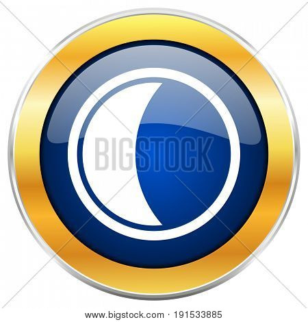 Moon blue web icon with golden chrome metallic border isolated on white background for web and mobile apps designers.
