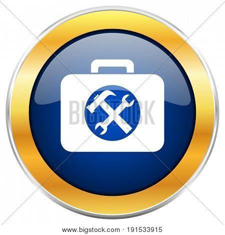 Toolkit blue web icon with golden chrome metallic border isolated on white background for web and mobile apps designers.
