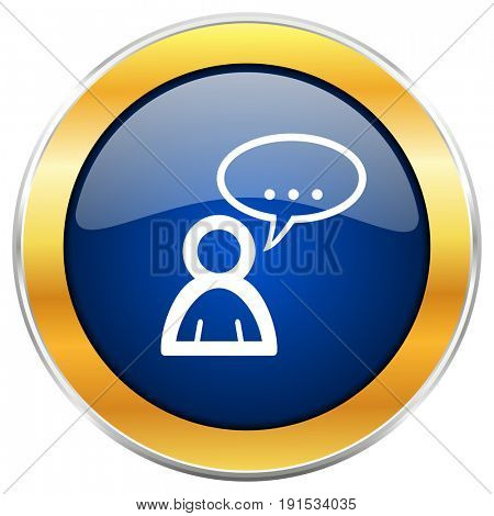 Forum blue web icon with golden chrome metallic border isolated on white background for web and mobile apps designers.