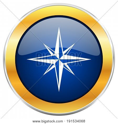 Compass blue web icon with golden chrome metallic border isolated on white background for web and mobile apps designers.