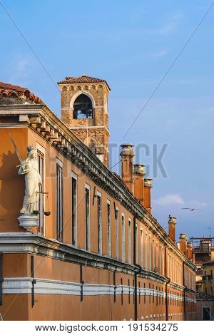 Venice, Italy, May, 31, 2017: roofs of inhabitable houses in Venice, Italy