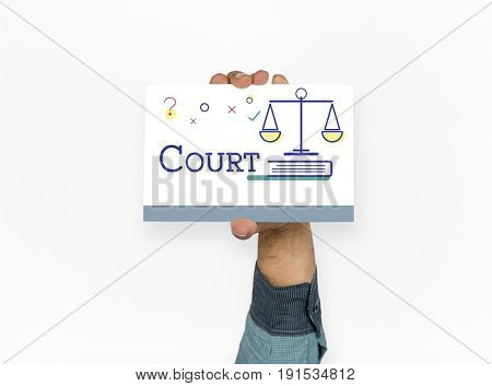 Hand holding paper with scale court lawyer icon