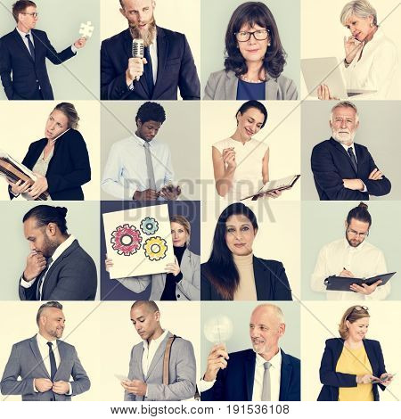 Business people portrait collection collage