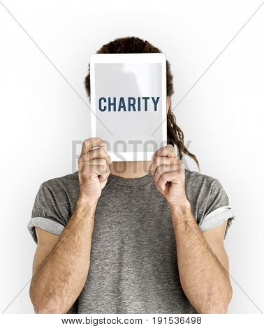 Charity word on solo studio portrait