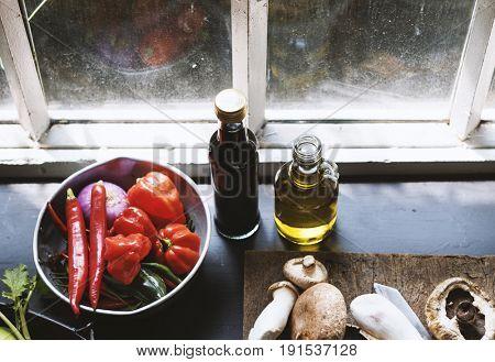 Variation vegetable in a kitchen