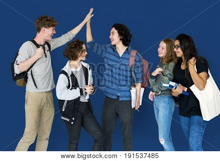 Cheerful students are together