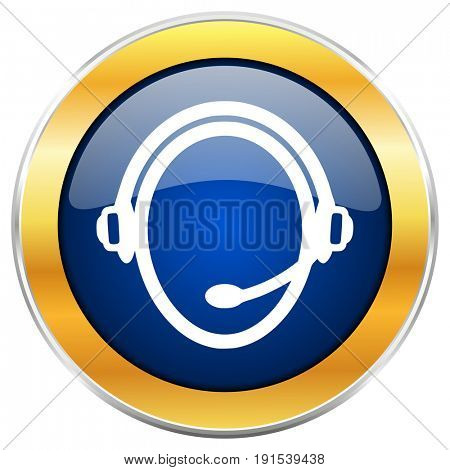 Customer service blue web icon with golden chrome metallic border isolated on white background for web and mobile apps designers.