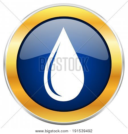 Water drop blue web icon with golden chrome metallic border isolated on white background for web and mobile apps designers.