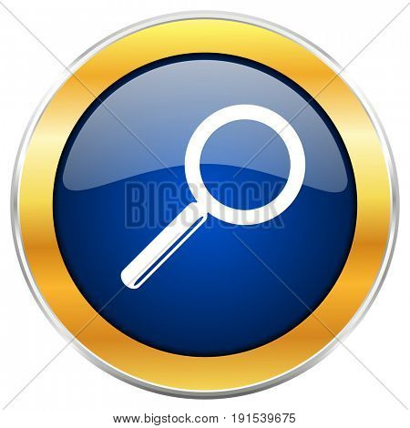 Search blue web icon with golden chrome metallic border isolated on white background for web and mobile apps designers.
