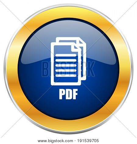 Pdf blue web icon with golden chrome metallic border isolated on white background for web and mobile apps designers.,