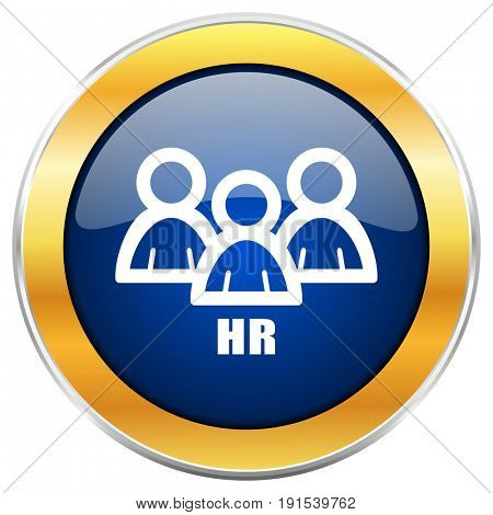 HR blue web icon with golden chrome metallic border isolated on white background for web and mobile apps designers.
