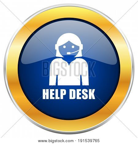 Help desk blue web icon with golden chrome metallic border isolated on white background for web and mobile apps designers.