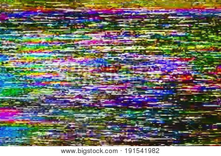 Real screen of colorful test television digital glitch. Noise background.