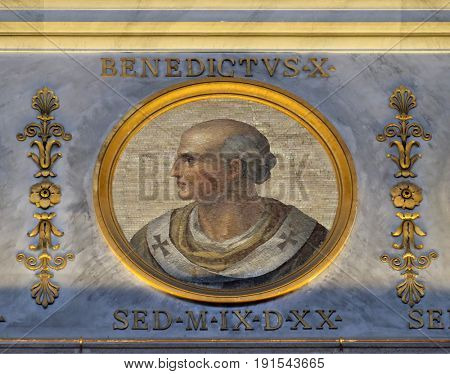ROME, ITALY - SEPTEMBER 05: Pope Antipope Benedict X, born Giovanni was Pope from 1058 to 1059, the basilica of Saint Paul Outside the Walls, Rome, Italy on September 05, 2016.