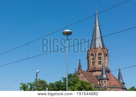 Karlsruhe Christuskirche Cathedral Christian Church Tower Spire German European Religion