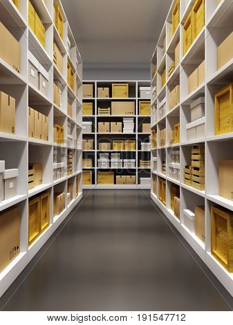 warehouse interior with rows of shelves with boxes, 3d rendering