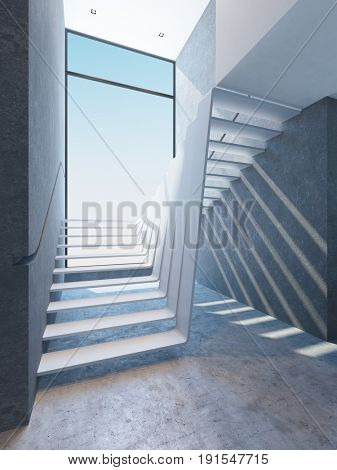 modern stairs in penthouse, 3d rendering poster