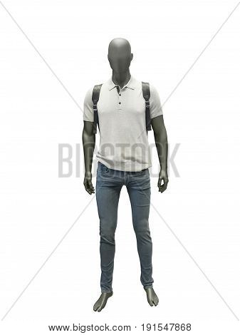 Full-length male mannequin dressed in t-shirt and jeans isolated on white background. No brand names or copyright objects.