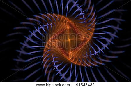 Abstract image of an orange square twirled in a spiral with blue trajectories with blurred edges on a black background