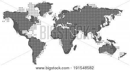 Blank grey similar World Map and dotted pattern isolated on white background. Proportions 1:2. Dotted monochrome Worldmap Vector template for citybanner website design cover infographics and more. Flat Earth Graph World map illustration. Editable eps10 Ve