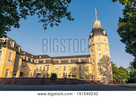 North Side Of Karlsruhe Palace Castle Schloss In Germany Blauer Strahl Architecture