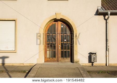 Wooden Double Doors European Archicture Alleyway Smiley Grafitti Typical