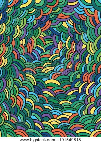 Doodle page with waves pattern. Vector colorful background for design and card. Abstract zentangle sketch illustration.
