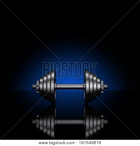 Dumbbells on a black reflective surface. Professional studio lighting with colored background. Heavy metal dumbbells. Cast iron discs and handle. Square proportions. 3D illustration.