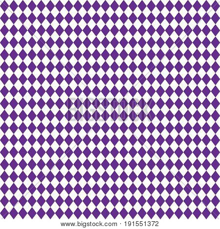 Diamond geometric seamless pattern. Violet color checkered, rhombus shapes background. Vector illustration.