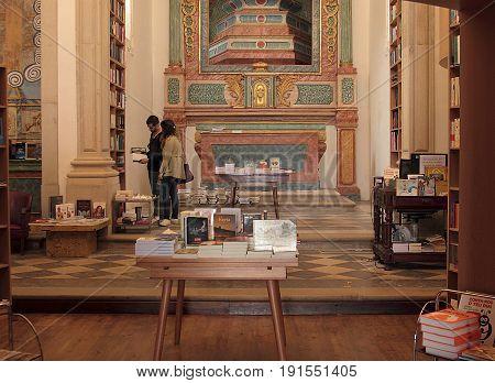Obidos, Portugal - May 10, 2014. Livraria de Santiago - Historic Church Reborn as Modern Bookstore in