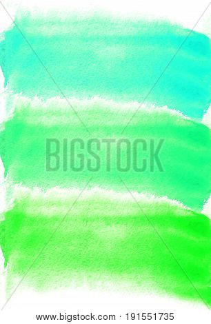 Card with watercolor blots. green and turquoise colors. Painting for your design. Abstract bright textured backdrop. Vector illustration. Hand painted texture for banner, logo, invitation, postcard.